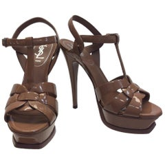 Yves Saint Laurent Patent Leather Tan Tribute Heels NIB