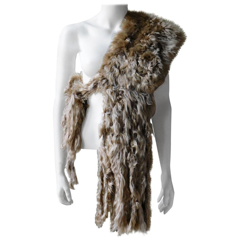 Ann Demeulemeester Natural Light Beige Llama Fur Wrap Shawl Scarf  For Sale