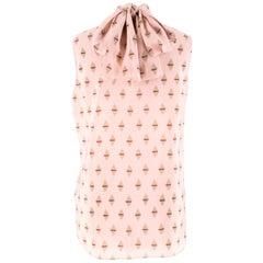 Valentino Pink Geometric Silk Neck Tie Blouse US 4