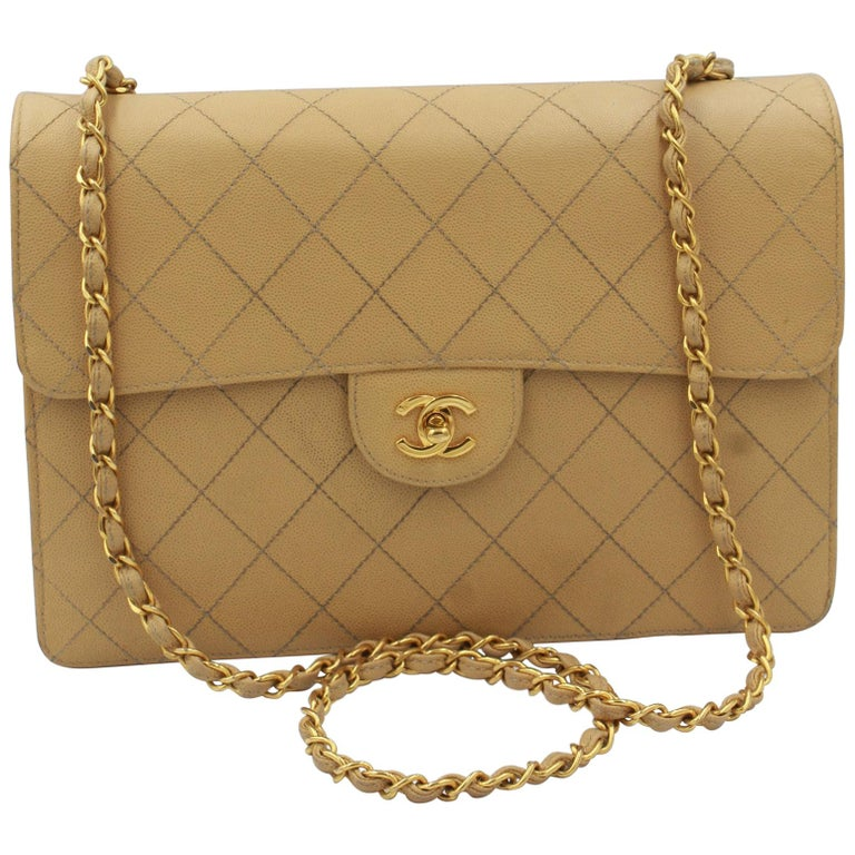 7c1a42215ceb43 Vintage Chanel Timeless Simple flap bag in grained leather For Sale ...