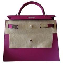 Hermès Kelly II Bag Sellier Epsom Rose Pourpe Phw 28 cm