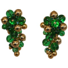 Francoise Montague Green and Gold Grape Inspired Clips