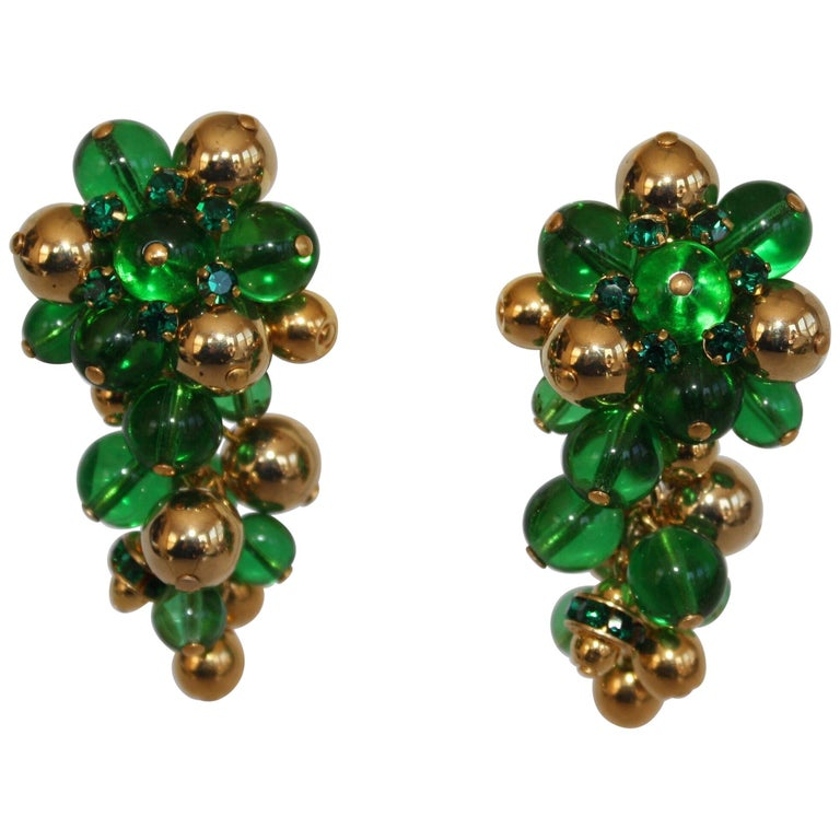 Francoise Montague Green and Gold Grape Inspired Clips For Sale