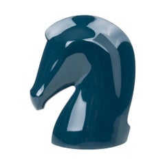 Hermes Samarcande Horsehead Paperweight Bleu Chrome Porcelain Lacquared Wood New