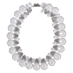Clear and Grey Plastic Bead Necklace with a Silver Tone and Grey Clasp