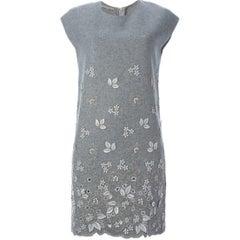 Ermanno Scervino Grey Wool Floral Applique Dress US 4