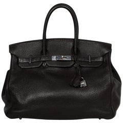Hermes Brown Clemence Leather 35cm Birkin Bag W/ PHW