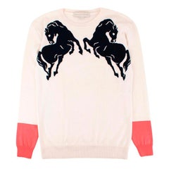 Stella McCartney Horse-intarsia wool and silk-blend sweater US 8