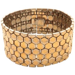 1940s Alfred Philippe Trifari Gold Plated Tessellated Honeycomb Wide Bracelet