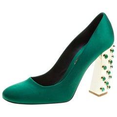 Stella McCartney Green Satin Cabochon Stone Embellished Pumps Size 40