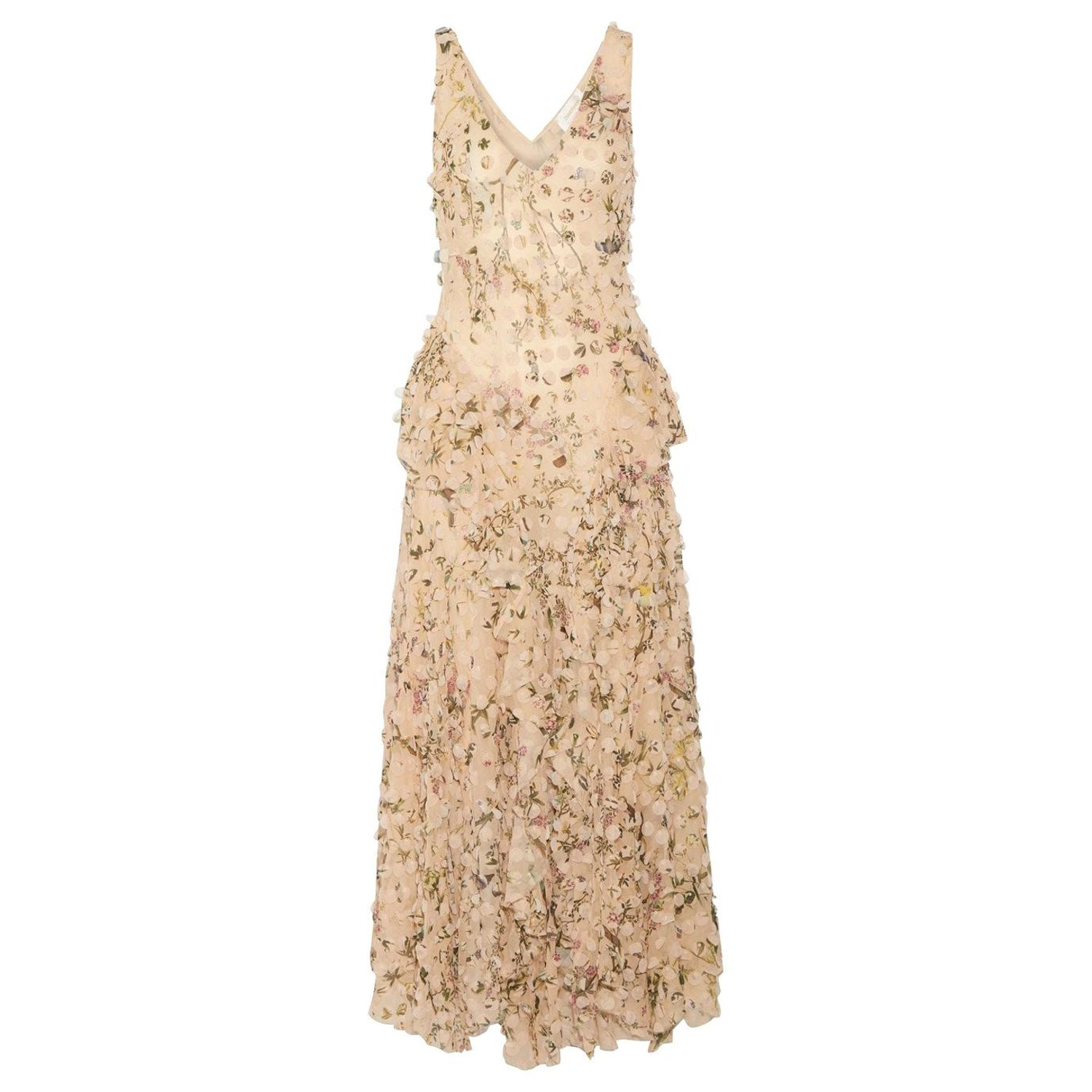 2f3a2bb73deb Zimmermann Maples Whisper Appliquéd Printed Silk Midi Dress at 1stdibs