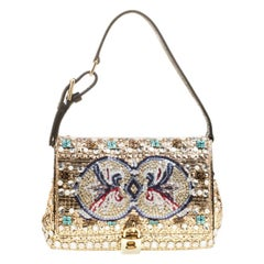 Dolce and Gabbana Gold Embellished Padlock Shoulder Bag