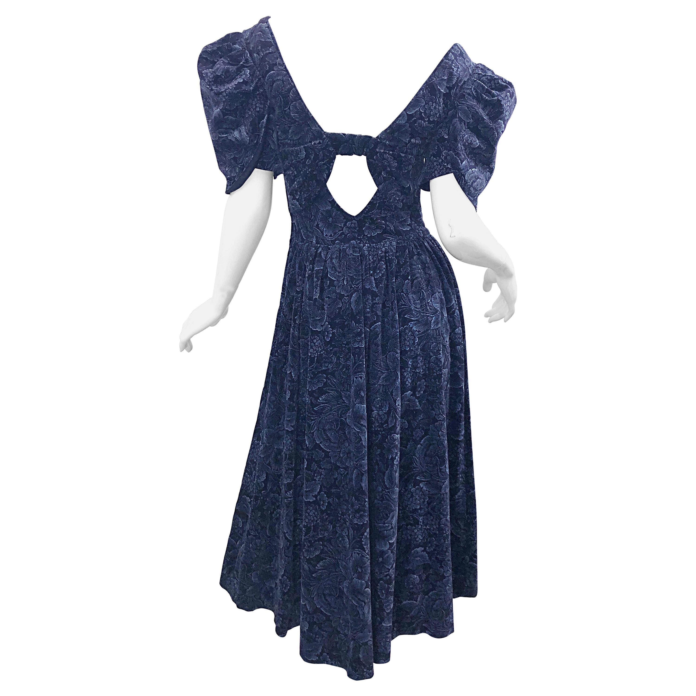 1980s Laura Ashley Batsheva Navy Blue Velvet Open Back Vintage 80s Midi Dress
