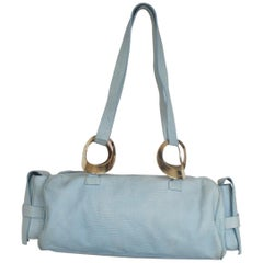 Gianni Versace turquoise leather baguette bag