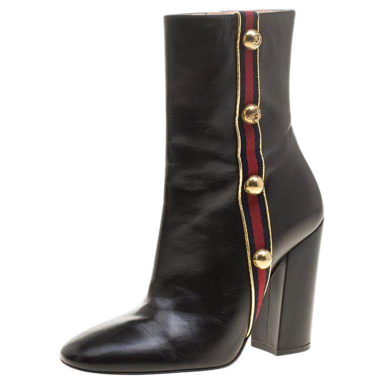 8dde5aa73 Gucci Black Carly Malaga Studded Web Detail Block Heel Ankle Boots Size  37.5 For Sale