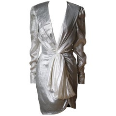 Redemption Metallic Draped Long-Sleeve Dress