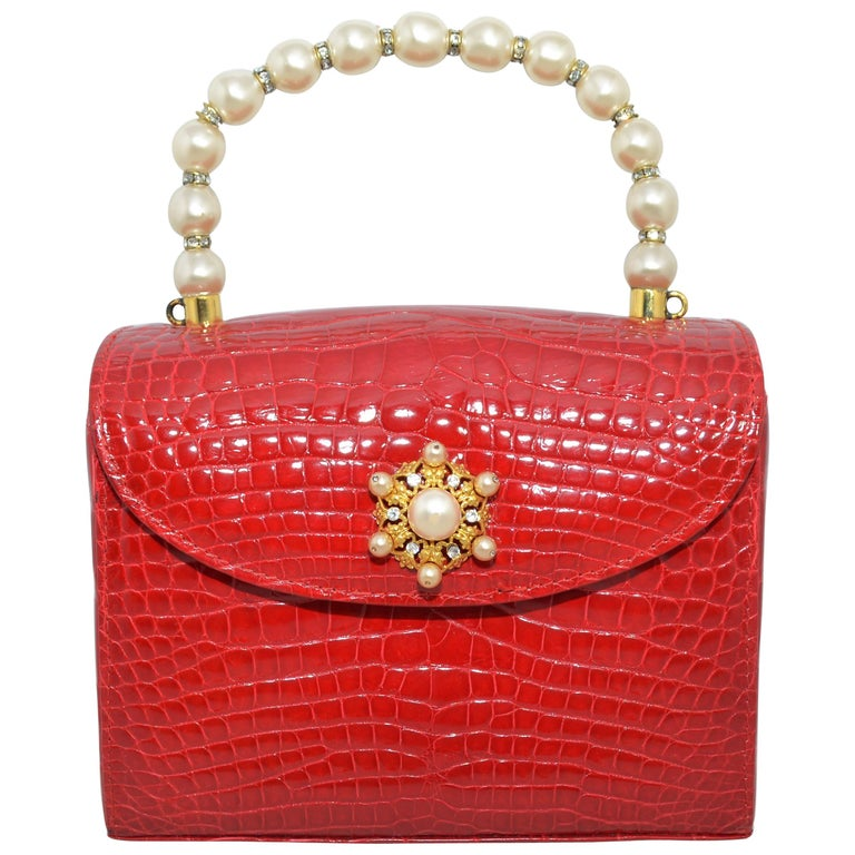 Lana Marks Red Alligator Purse with Pearl Handle For Sale