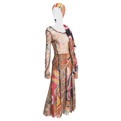 John Paul Gaultier Colorful Sheer Mesh Ensemble 3pc Top, Skirt + 62in Shawl S