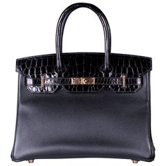 HERMES 30cm BLACK CROCODILE & CLEMENCE LEATHER WITH ROSE GOLD HARDWARE