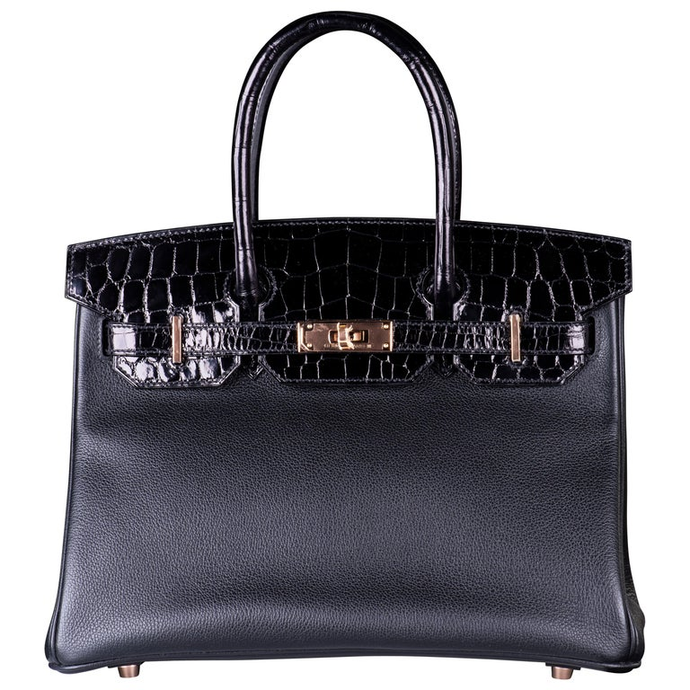 HERMES 30cm BLACK CROCODILE & CLEMENCE LEATHER WITH ROSE GOLD HARDWARE For Sale