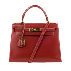 Hermes kelly 28cm Red Brick box Leather Handbag