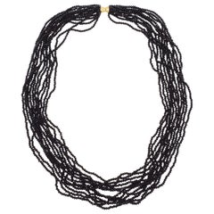 12 Strand Black Spinel Glass Bead Necklace with 14K Yellow Gold Clasp
