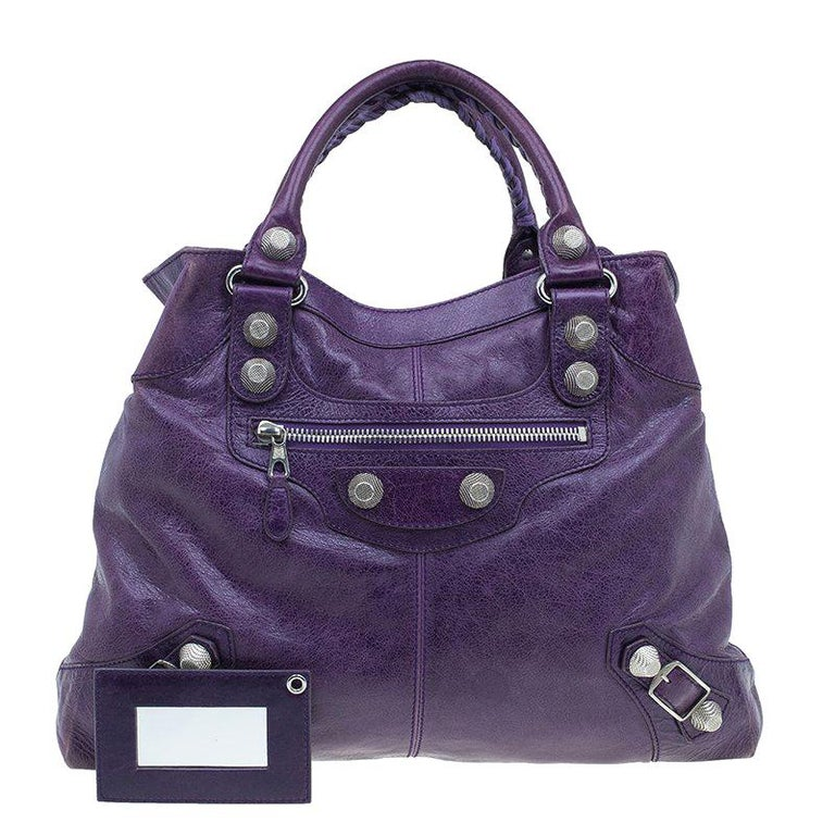 007837f26b Balenciaga Purple Lambskin Leather Arena Giant Brief Tote For Sale ...