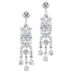 Stunning Art Deco Style Cubic Zirconia Fringe Sterling Earrings
