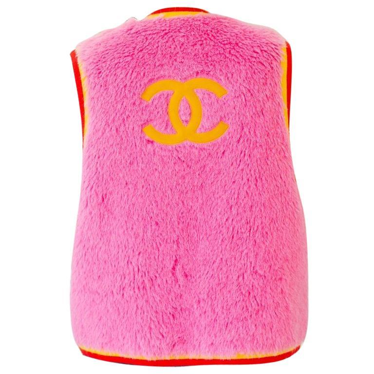 Chanel 90s Vintage Pink Alpaca Vest For Sale