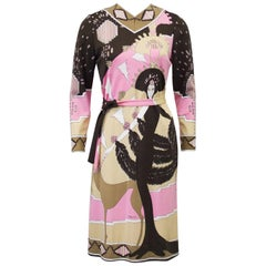 1970s Paganne Brown and Pink Printed Rayon Dress