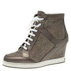 Jimmy Choo  Lame Glitter and Metallic Leather Panama Wedge Sneakers Size 37.5