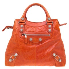 Balenciaga Orange Lambskin Leather GSH Brief Tote