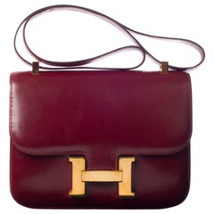 Hermes Constance  Burgundy Box Leather Handbag
