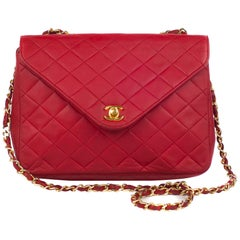 Chanel  Vintage Mademoisele Red Lambskin Leather Handbag