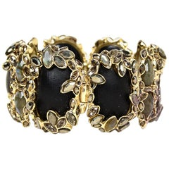 Alexis Bittar Black Stone Goldtone Bangle Bracelet W/ Crystals