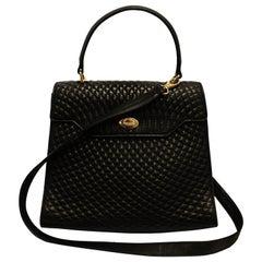 Bally Vintage Black Quilted Top Handle Bag