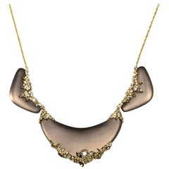 """Alexis Bittar Taupe Lucite Goldtone Necklace W/ Crystals 20"""""""
