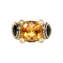 Asch/Grossbardt Sterling & 18K Citrine Ring W/ Diamonds & Onyx/MOP/Coral Sz 6.5