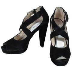 Michael Kors Suede Peep Toe Platform Heel Sandals, 21st Century