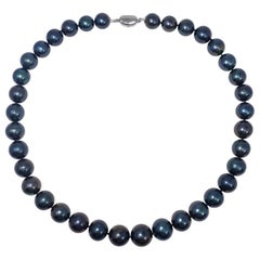 Blue-Green Tahitian Pearl Beaded Necklace with Sterling Silver Clasp, 52 cm Long