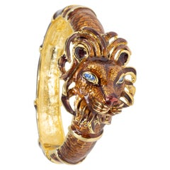 Kenneth Jay Lane KJL Lion Bracelet with Brown Enamel, Blue Crystals, in Gold