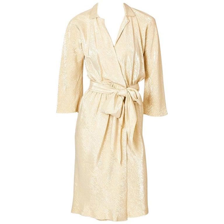 Halston Gold Lamé Wrap Dress For Sale