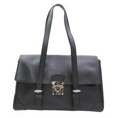 Louis Vuitton Segur Mm 867540 Black Leather Satchel