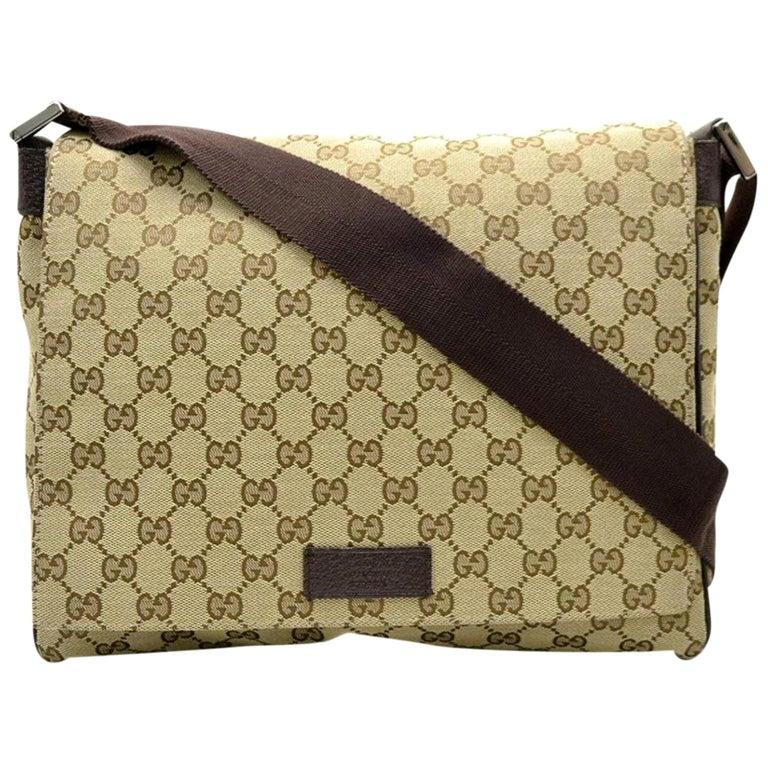d8dc5ba6368d Gucci Monogram Signature Messenger 867749 Brown Canvas Cross Body Bag For  Sale