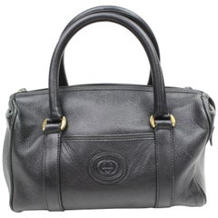 Gucci Boston Gg Interlocking 869467 Black Leather Satchel