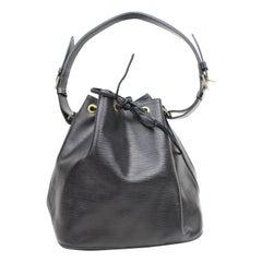 Louis Vuitton Bucket Noir Petit Noe Drawstring Hobo 869316 Black Leather Shoulde