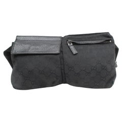 Gucci Monogram Belt Fanny Pack Waist Pouch 869190 Black Canvas Cross Body Bag