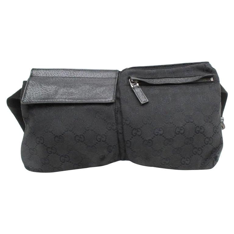 27260426f18 Gucci Monogram Belt Fanny Pack Waist Pouch 869190 Black Canvas Cross Body  Bag For Sale