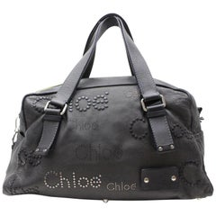 Chloé Studded Logo Boston Duffle 868209 Black Leather Weekend/Travel Bag