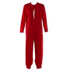 Yves Saint Laurent Vintage Red Pants ans Shirt Suit